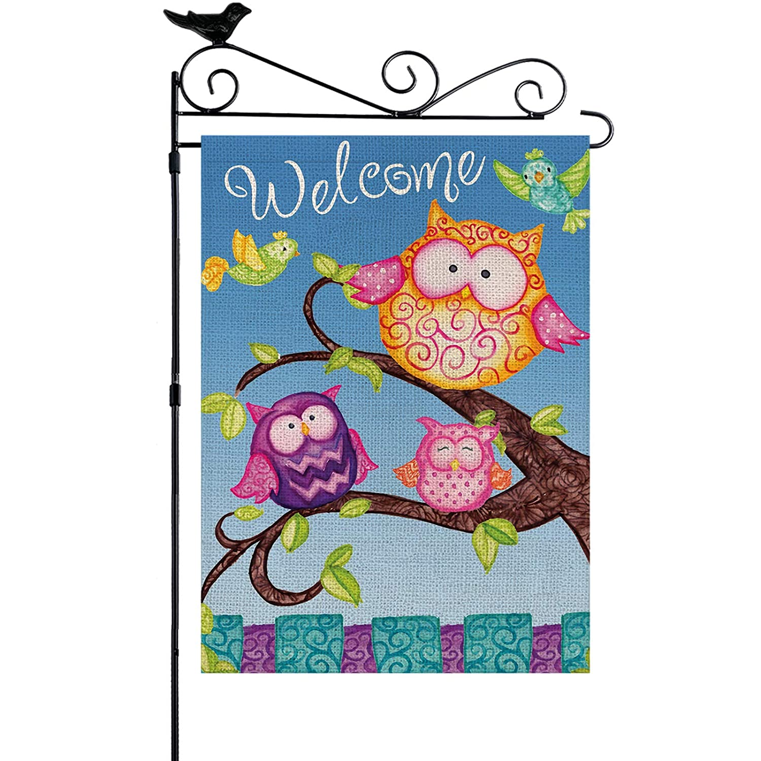 YISHOW Welcome Owls Family Garden Flag Double Sided Vertical House Banner Home Burlap Flags Welcome Yard Signs Outdoor Decor 12.5