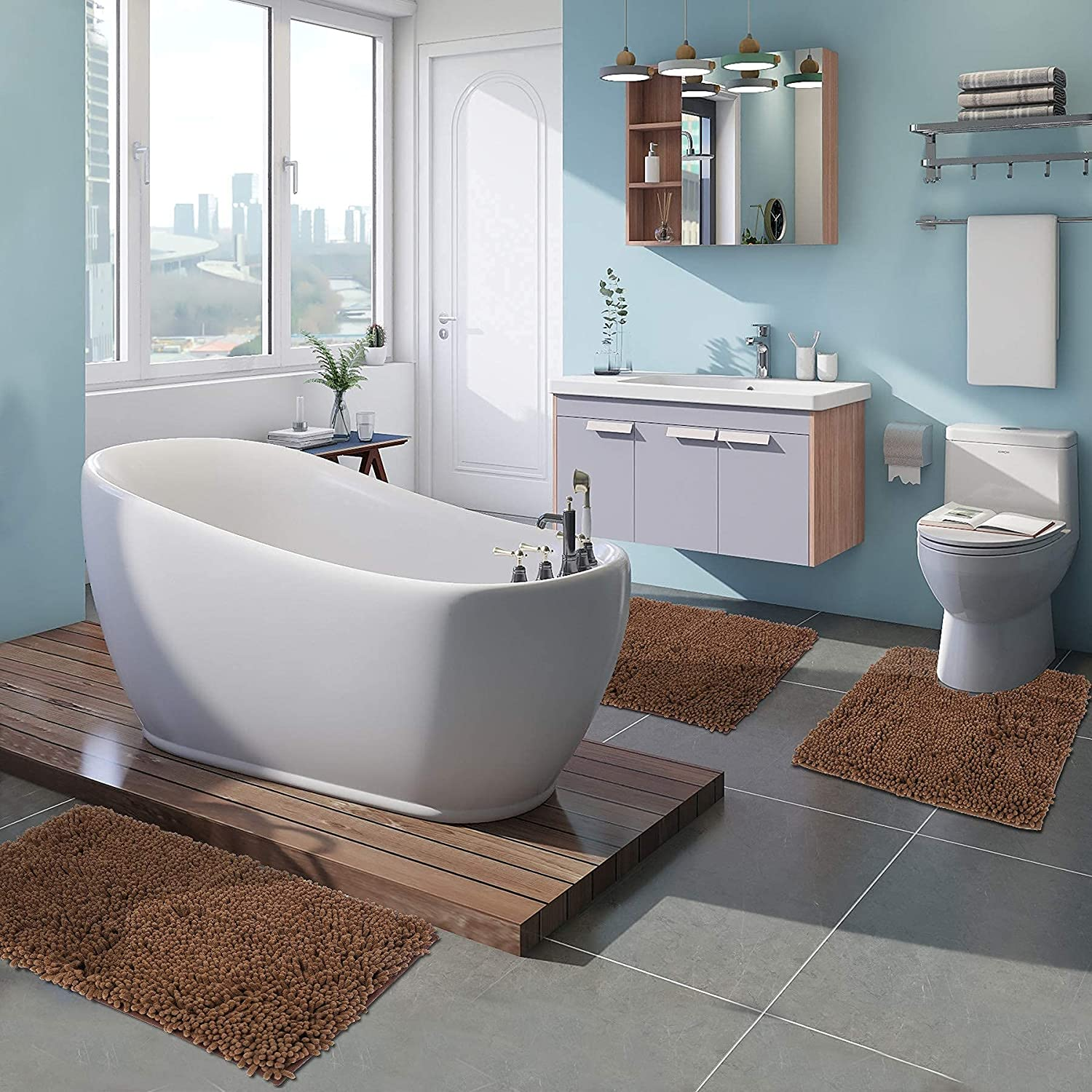 Varbucamp 3pc Bathroom Rugs Set Non Ch Shaggy Soft Slip Durable Manufacturer regenerated Philadelphia Mall product