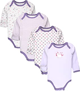 Infant Boys' and Girls' 4 & 5 Pack Cotton Baby Longsleeve & Short Sleeve Bodysuit Set w/Mitten Cuffs
