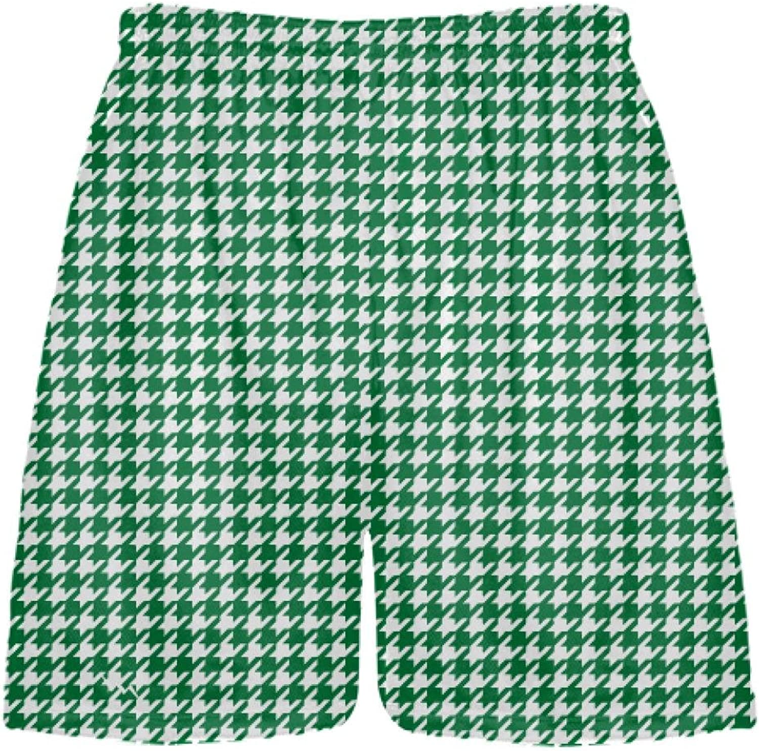 LightningWear Forest Green Houndstooth Shorts  Sublimated Shorts  Dark Green Lacrosse Shorts  Hounds Tooth