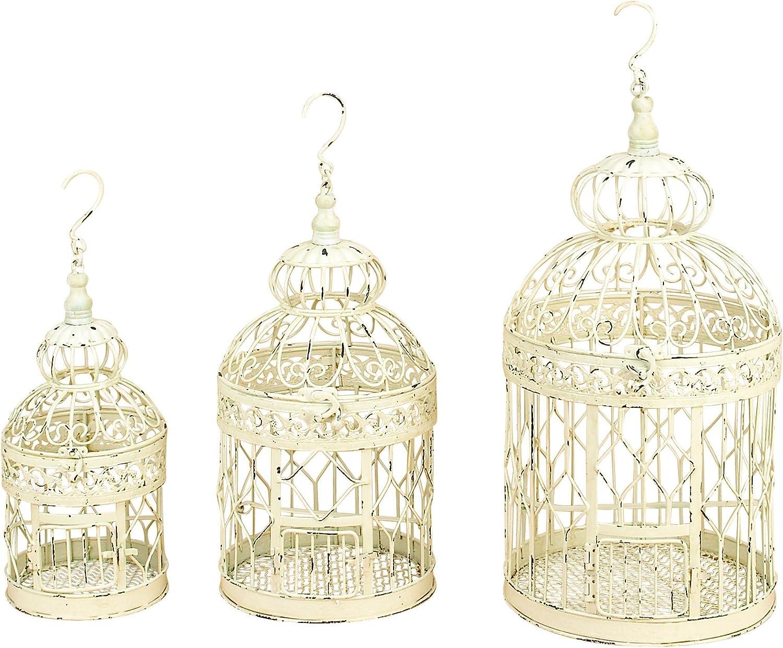 Deco 79 90589 3-Piece Metal Round Bird Cage Set