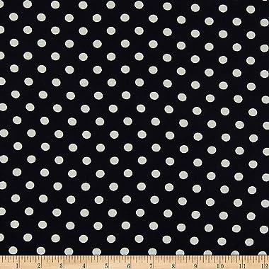Fabric Merchants Rayon Challis Polka Dot Navy/Ivory Fabric