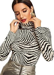 Women's Leopard Print Long Sleeve Turtleneck T-Shirt Basic Blouse Tee Top