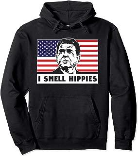 I Smell Hippies, Ronald Reagan Merica USA Hoodie