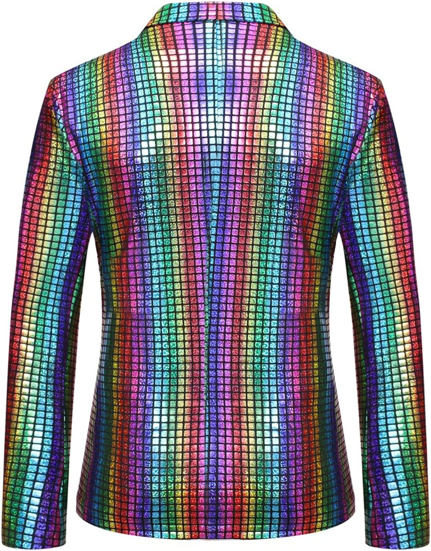 Men Shiny Sequins Blazer Suit Jacket Slim Fit Party Golden Blazer Jackets Casual Night Club Metallic Gold Blazers Coat (Multicolor,Medium)