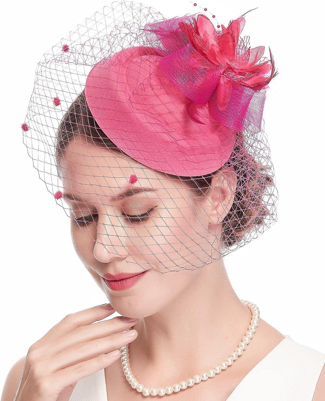 Cizoe Denver Mall Fascinator Hats for Max 43% OFF Women 20s Vintage Kent Hat 50s Pillbox