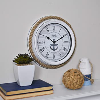 Deco 79 52558 Metal Rope Glass Wall Clock 17 17 UMA Enterprises