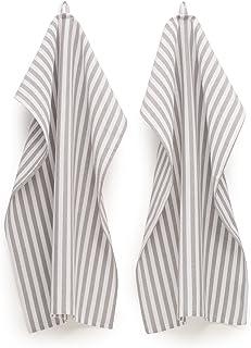 FILU Geschirrhandtücher 8er Pack Grau/Weiß gestreift Farbe und Design wählbar 45 x 70 cm - hochwertige Küchenhandtücher/Geschirrtücher aus 100% Baumwolle
