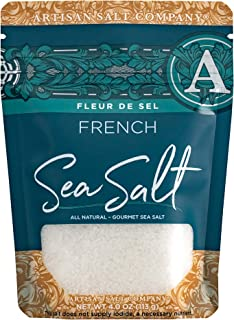 SaltWorks Fleur de Sel, French Flower of Salt, Artisan Zip-Top Pouch, 4 Ounce