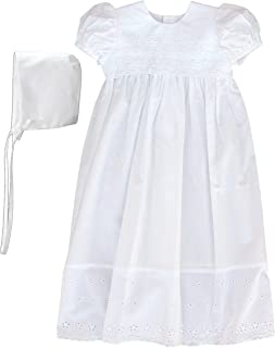 100% Cotton Dress Christening Gown Baptism Gown with Lace Border
