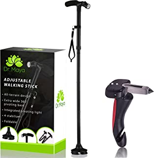 Walking Cane by Dr. Maya with Free Car Cane, Tips & LED Lights - Lightweight, Adjustable, Foldable, Pivoting Base, Quad Travel Balance Stick Support for Elderly Men and Women - Walker for Seniors!