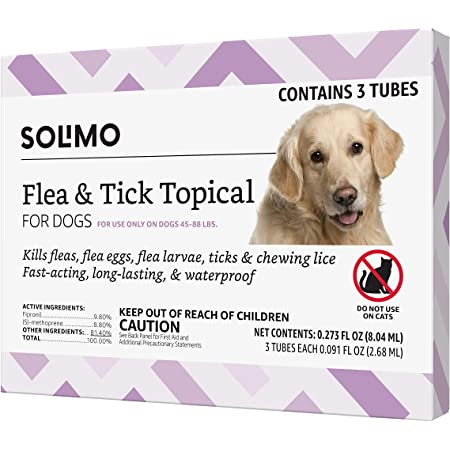 Amazon Brand - Solimo Flea and Tick Topical Treatment for Dogs (Small, Medium, Large, XLarge)