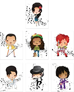 Music Stars Wall Art Prints - Set of 7 Photos - Amy Winehouse Freddie Mercury Bob Marley David Bowie Elvis Michael Jackson Prince