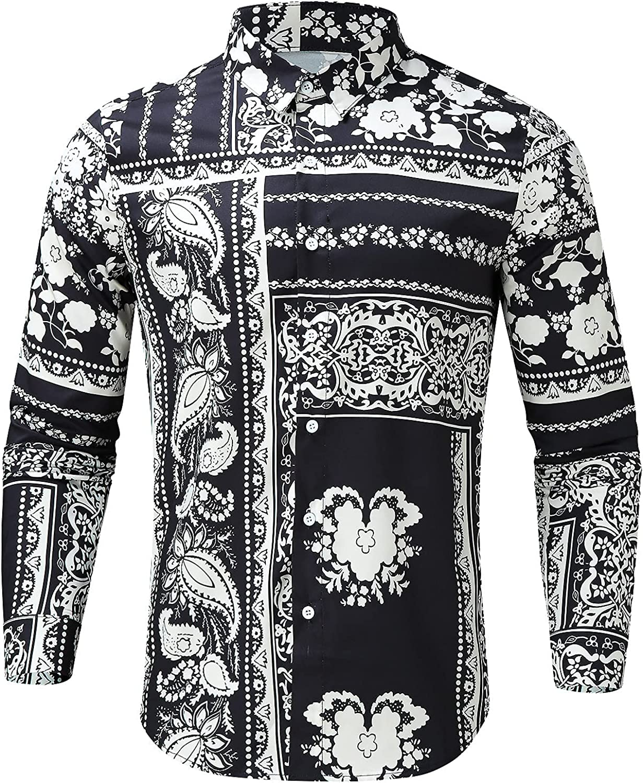 FUNEY Hawaiian Shirt for Men Fashion Casual Regular-fit Floral Print Long Sleeve Paisley Cotton Flower Button Down Shirts