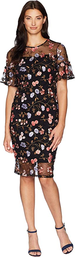 Flutter Sleeve Embroidered Sheath Dress CD8L14TL
