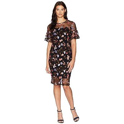 Calvin Klein Flutter Sleeve Embroidered Sheath Dress CD8L14TL (Black Multi) Women