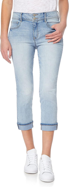 WallFlower Women's Juniors Plus-Size InstaFlex High-Rise Flirty Curvy Fit Skinny Stretch Denim Crop