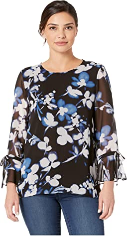 Printed Tie Top with Flare Sleeve