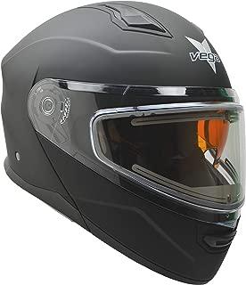 Vega Helmets Unisex-Adult Modular Caldera Electric Snow Snowmobile Helmet with 30% Larger Shield and Sunshield (Matte Black, Medium)