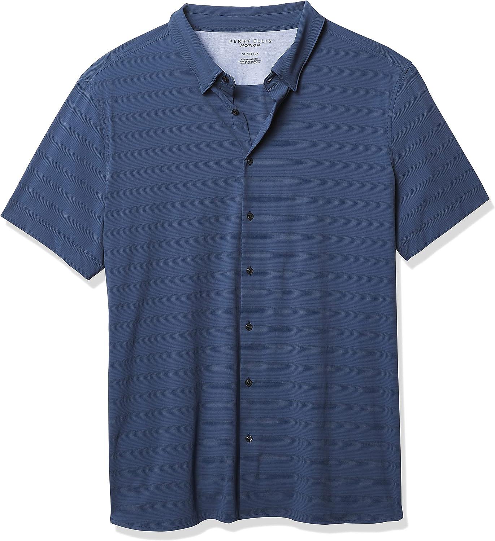 Perry Ellis Men's Motion Big & Tall Slim Fit Stretch Subtle Stripe Shirt
