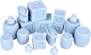 18 Pack Arctic 3D HD Series: Wooden Crates, Barrels, Gold Pouch and Sack Miniature Model Treasure and Loot Set 28mm for Dungeons & Dragons, Pathfinder, RPG, Wargaming, Tabletop, Terrain, Dwarven Forge