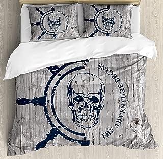 Lunarable Nautical Duvet Cover Set, Marine Theme Digital Image Skull Helm Ocean Inspired Vintage Pattern, Decorative 3 Piece Bedding Set with 2 Pillow Shams, King Size, Petrol Blue