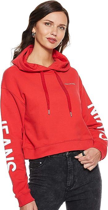 CALVIN KLEIN Jeans Women's Crop Institutional Logo Hoodie