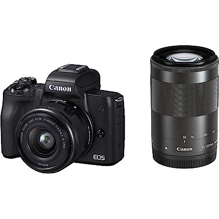 Canon ミラーレス一眼カメラ EOS Kiss M ダブルズームキット ブラック EOSKISSMBK-WZK