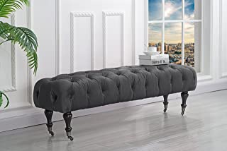 Classic Tufted Velvet Bedroom Vanity Bench with Casters (Grey)
