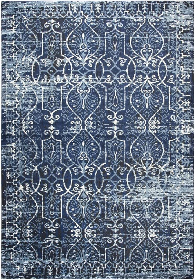 Rizzy Home Swagger Save money Collection Scrollwork Rug Blue Store Dark Distress