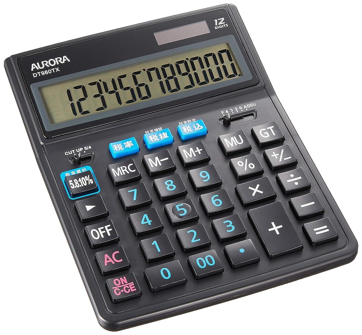 拮抗するクレタほとんどの場合オーロラジャパン 卓上大型 電卓 12桁表示 税率切替ボタン付 ブラック DT980TX-B