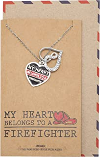 Handmade Firefighter Wife Pendant Necklace, Infinity Heart and Heart-Shaped Plate Pendants, Gifts for Women with an Inspirational Quote Card