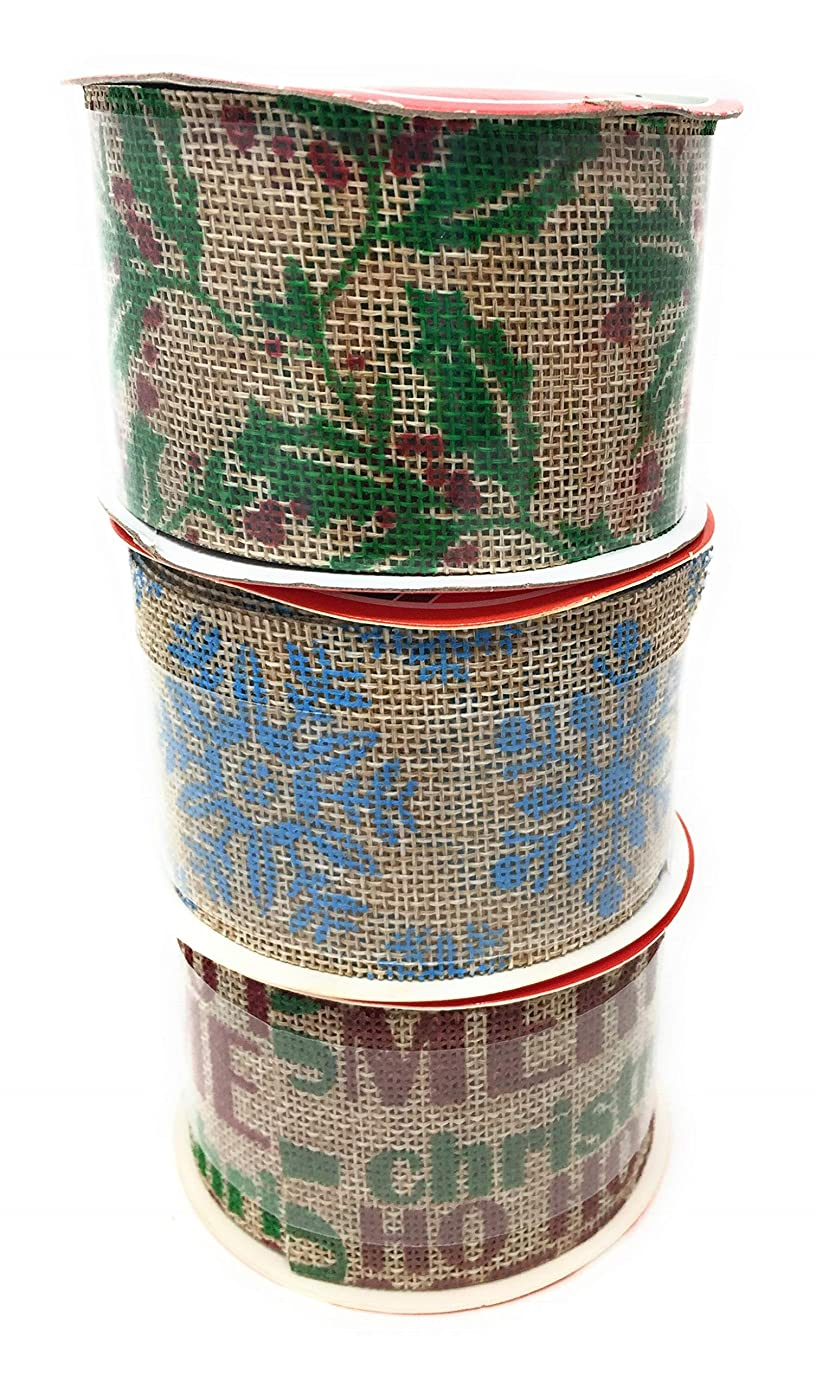 Christmas Burlap Wire Edged Ribbon Set of 3 with Holly, Snow Flakes, Joy Print (3 Yards x 2.5 Inches)