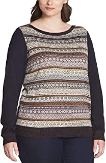 TOMMY HILFIGER Womens Studded Striped Pullover Sweater