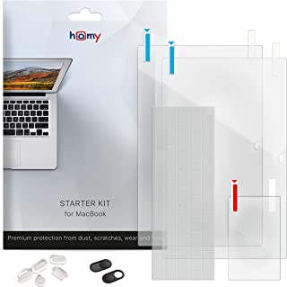 Homy Full Protection Kit for MacBook 12 inch: 1x Matte & 1x Glare Screen Protector, Keyboard Cover Ultra-Thin TPU, 2X Web Camera Cover Slide, 5X Dust Plug, Trackpad Cover Accessories for A1534 Retina.