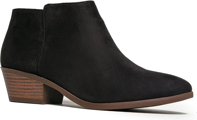J. Adams Women's Black Suede Low Heel Western Ankle Bootie - 7 B(M) US