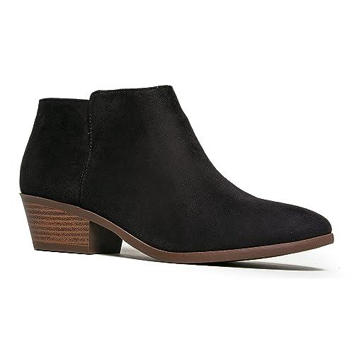 c9de94e11 J. Adams Women s Black IMSU Low Heel Western Ankle Bootie - 10 B(M