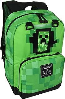 JINX Minecraft Creepy Creeper Kids School Backpack, Green, 17