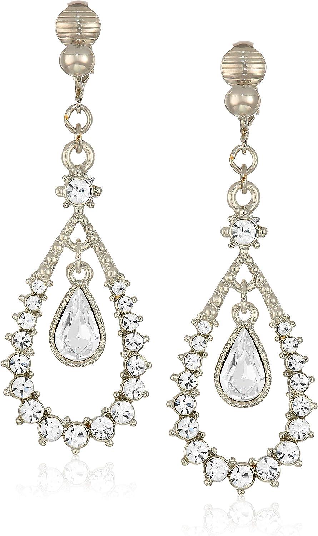 1928 Jewelry Women's Year-end annual account Silver-Tone Crystal specialty shop Clip Earrings Teardrop