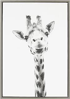 Kate and Laurel Sylvie Giraffe Framed Canvas by Simon Te Tai, 22x23, Gray