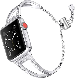Secbolt Bling Bands Compatible Apple Watch Band 42mm 44mm Iwatch Series 4/3/2/1, Women Stainless Steel Metal Dress Jewelry Bracelet Bangle Wristband