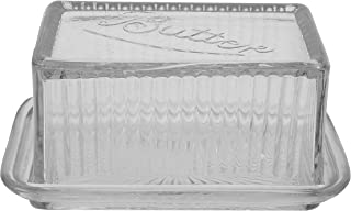 Creative Co-Op Clear Pressed Glass Butter Dish with Lid