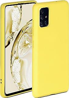 ONEFLOW Soft Case kompatibel mit Samsung Galaxy A51 Hülle aus Silikon, erhöhte Kante für Bildschirmschutz, zweilagig, weiche Handyhülle   matt Gelb
