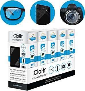 iCloth Lens and Screen Cleaner Pro-Grade Individually Wrapped Wet Wipes, Wipes for Cleaning Small Electronic Devices Like Smartphones and Tablets Box of 150