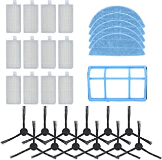 DingGreat Recambios Accesorios para ILIFE V3 V3s V5 V5s V5s Pro Robot Aspirador Pack de 12 Cepillos Laterales + 12 Filtros...