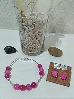 Conjunto de pulsera y pendientes de plata y de ágatas facetadas en rosa. Adaptables 18,5 cm a 19,5 cm