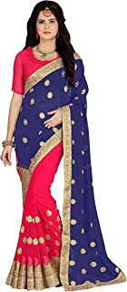 Niza Fashion Women's Georgette Embroidery Saree with Blouse Piece (Blue)