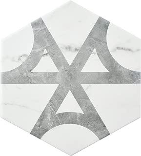 SomerTile FEQCRXFL Murmur Carrara Hexagon Porcelain Floor & Wall Tile, 7
