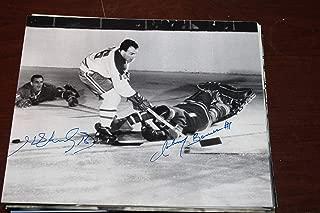 Henri Richard & Johnny Bower Signed Classic NHL 8x10