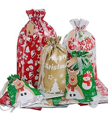 Bolsas con cordón de Navidad con etiquetas de nombre, 24 unidades de varios tamaños Jumbo/Grande/Mediano/Pequeñas bolsas de embalaje de Navidad para decoraciones de Navidad, cestas de Navidad, regalos de Navidad